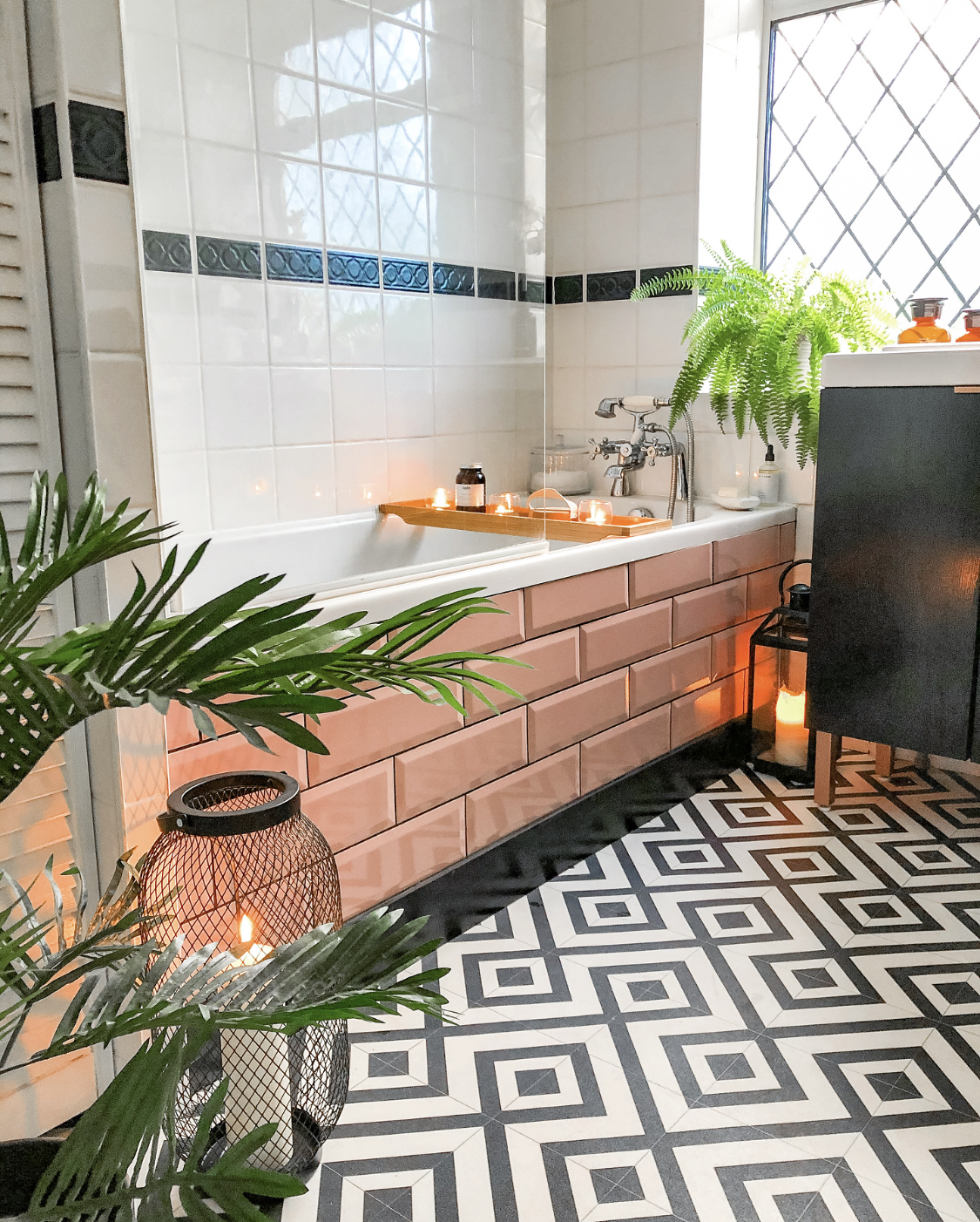 Tiled bath panel in blush pink metro tiles